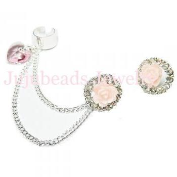 Sweet Rosy Love - Swarovski Crystal Chain Ear Cuff
