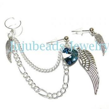Wings and Swarovski Heart Chain Ear Cuff